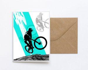 Mountain Biker Greetings Card