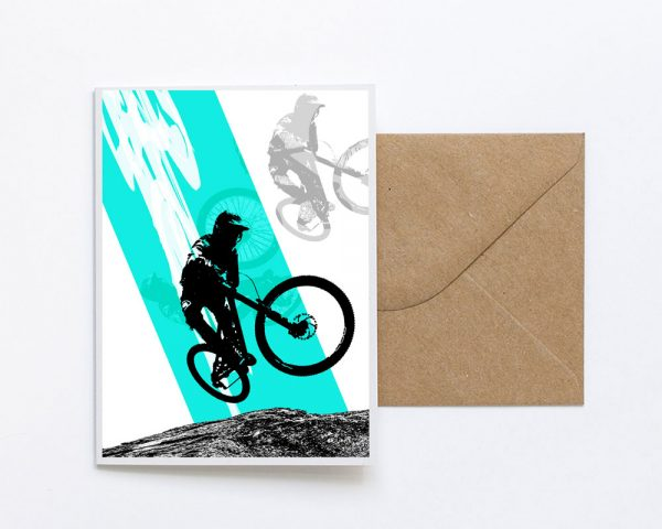 Mountain Biker Greetings Card