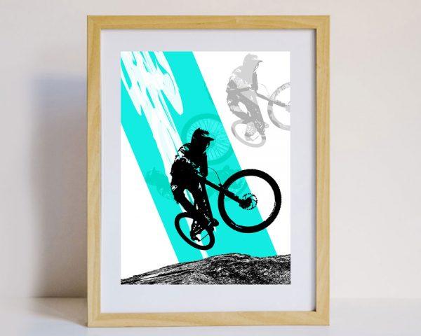 Mountain Biker Wall Art in Frame
