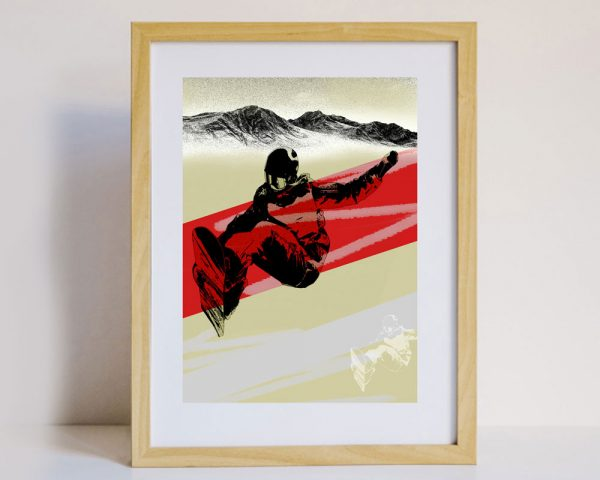 Snowboarder Wall Art in Frame