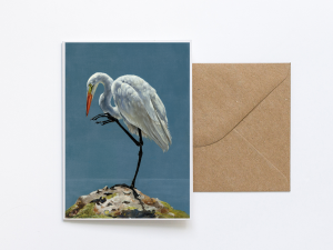 Heron Greeting Card Art by Sue Over